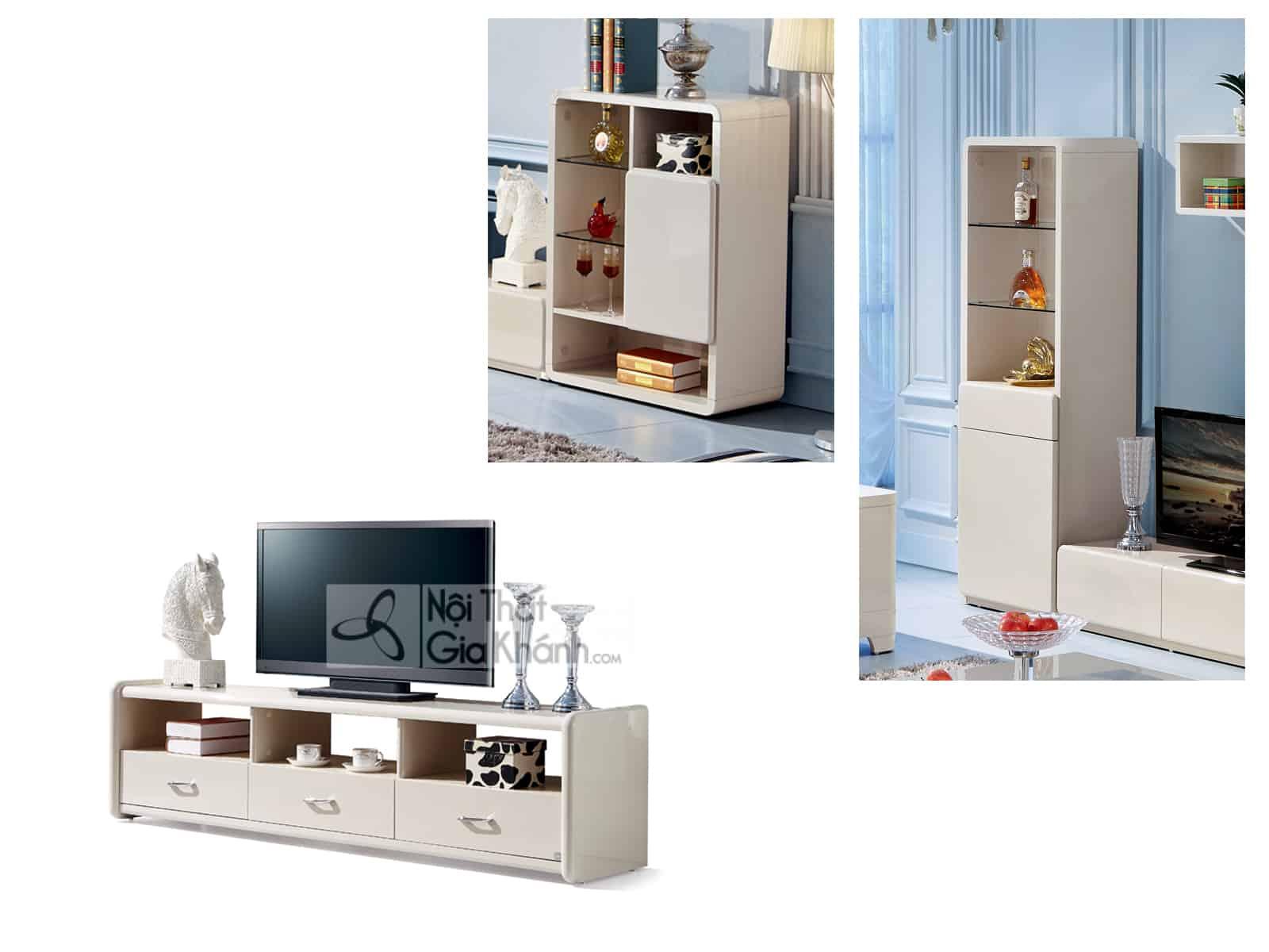 Bộ kệ Ti vi phòng khách hiện đại gỗ màu trắng nhập khẩu 3320BK