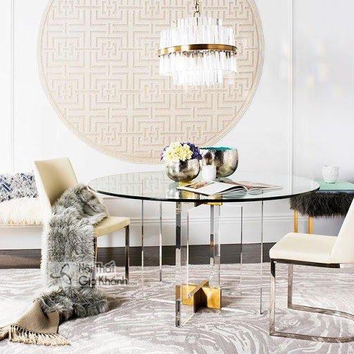 Xu hướng bàn kính tròn tiếp khách phòng khách & bàn sofa kính tròn 2019 - ban kinh tron nhap khau 1