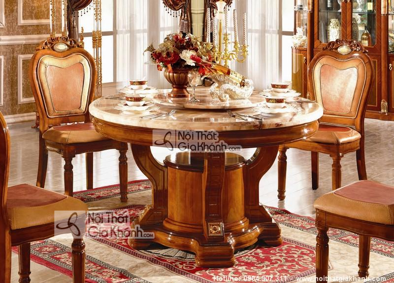Bộ bàn ăn tròn bằng gỗ sồi cao cấp