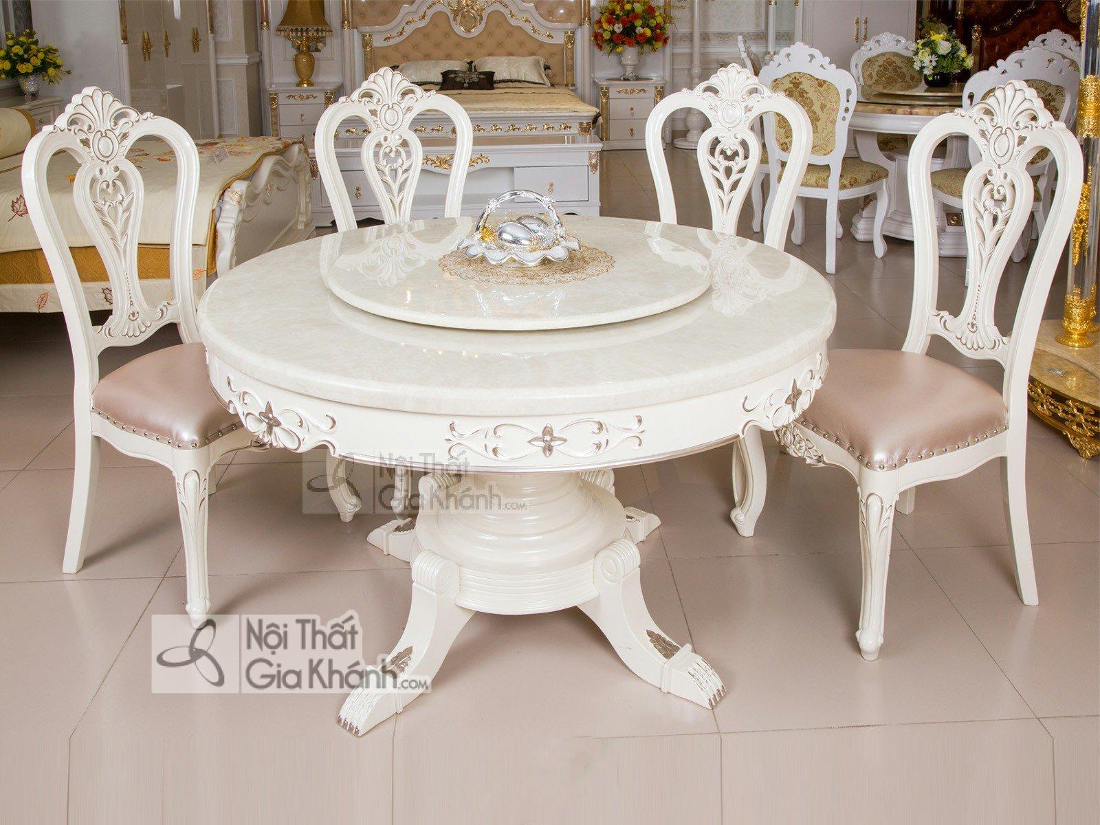 Bộ bàn ăn tròn bằng gỗ mặt đá trắng