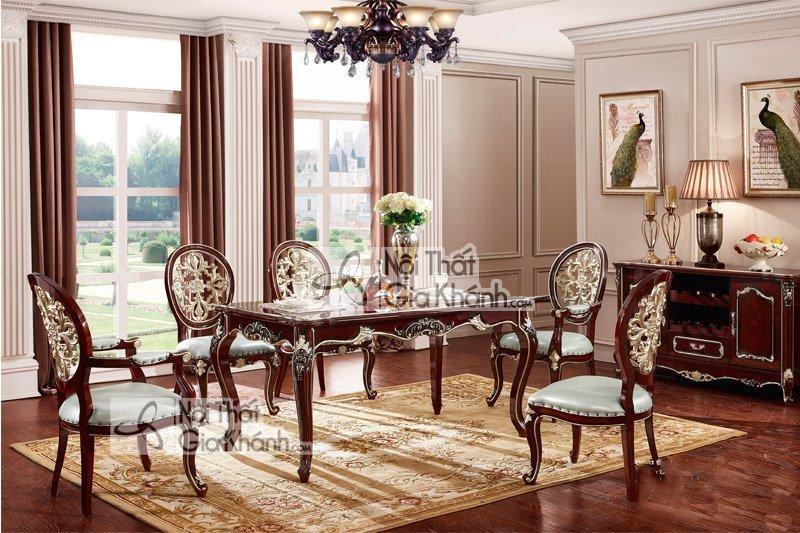 Mẫu bàn ăn tân cổ điển làm từ gỗ hồ đào