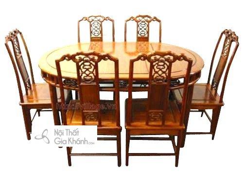 Bộ bàn ghế ăn gỗ gụ - bo ban ghe an go gu 2