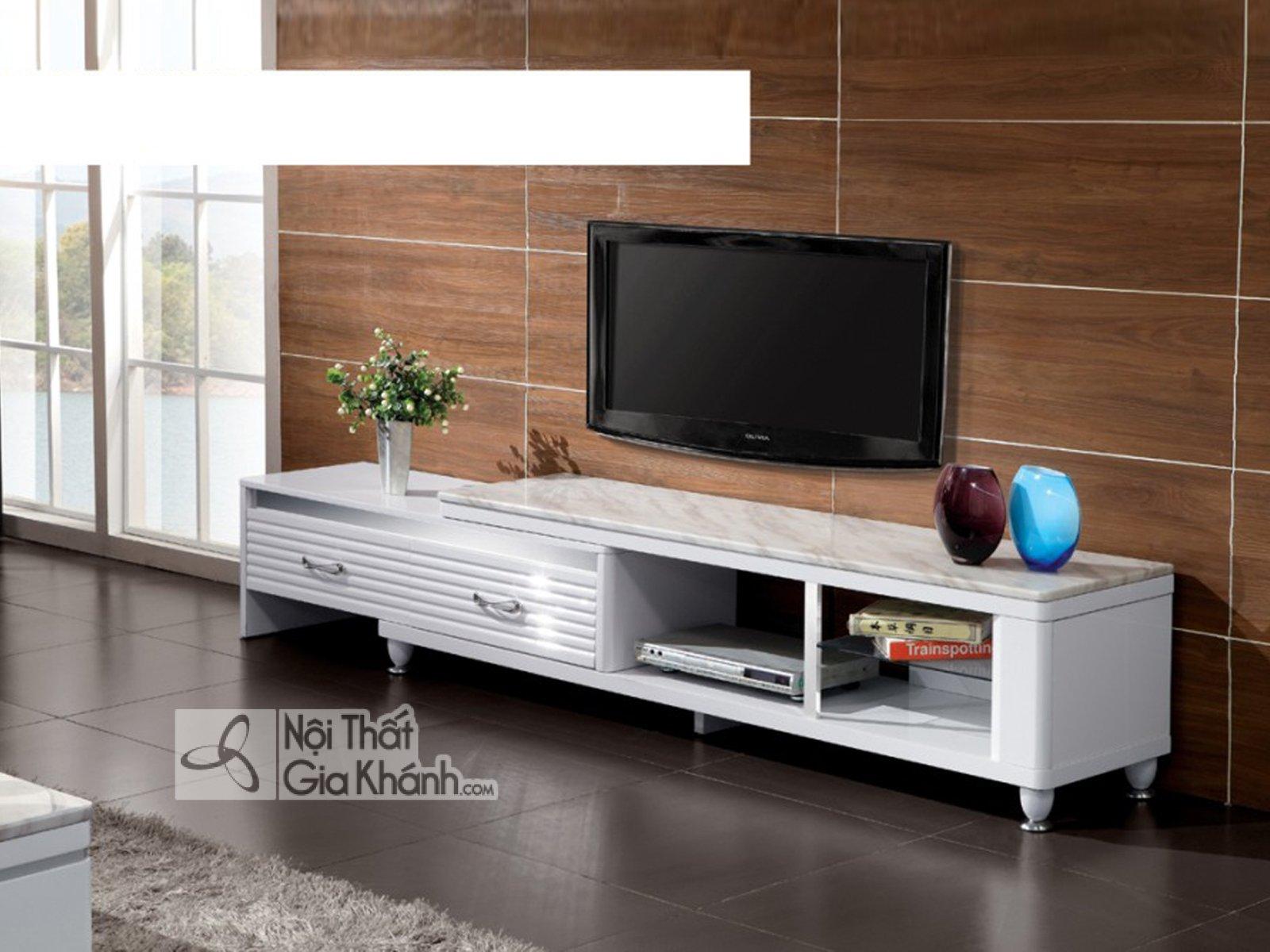 Kệ tivi bằng gỗ công nghiệp phòng khách hiện đại mặt đá HY20050+52 - ke ti vi da nang mat da hy2005052