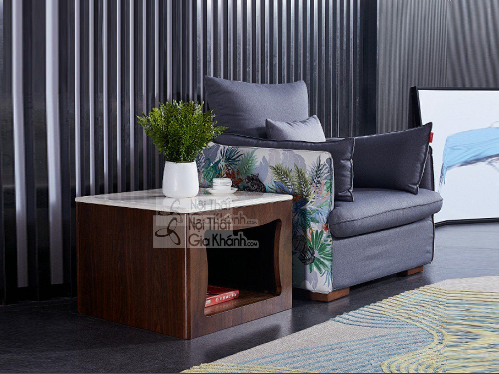 Bàn trà  mặt đá trắng, thân nâu hiện đại cho không gian phòng khách