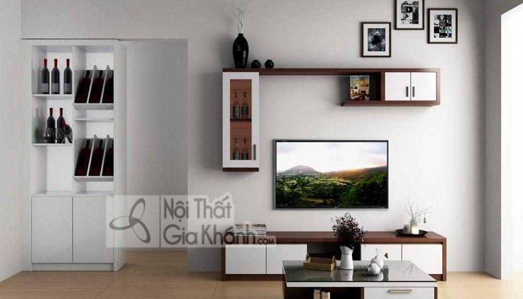 Kệ tivi thường sử dụng chất liệu gỗ