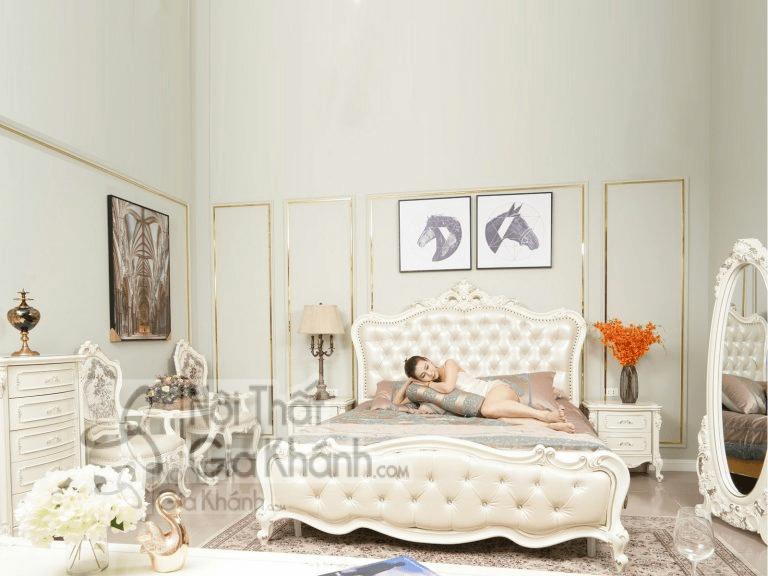Giường ngủ màu trắng kiểu dáng tân cổ điển