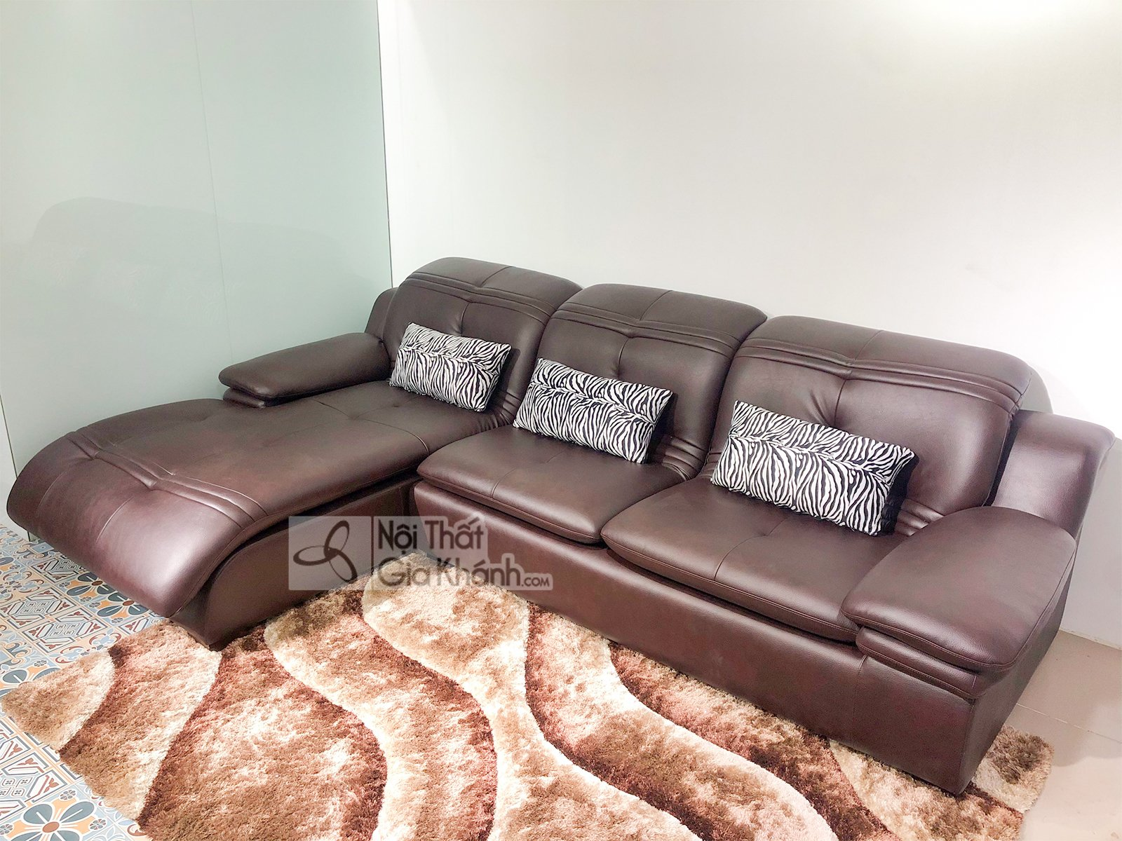 Sofa góc bằng da bò 2 băng nhập khẩu cao cấp SF902-2B