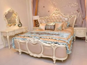 Bộ giường ngủ màu trắng tân cổ điển H8818BG - bo giuong ngu mau trang tan co dien h8818bg 300x225