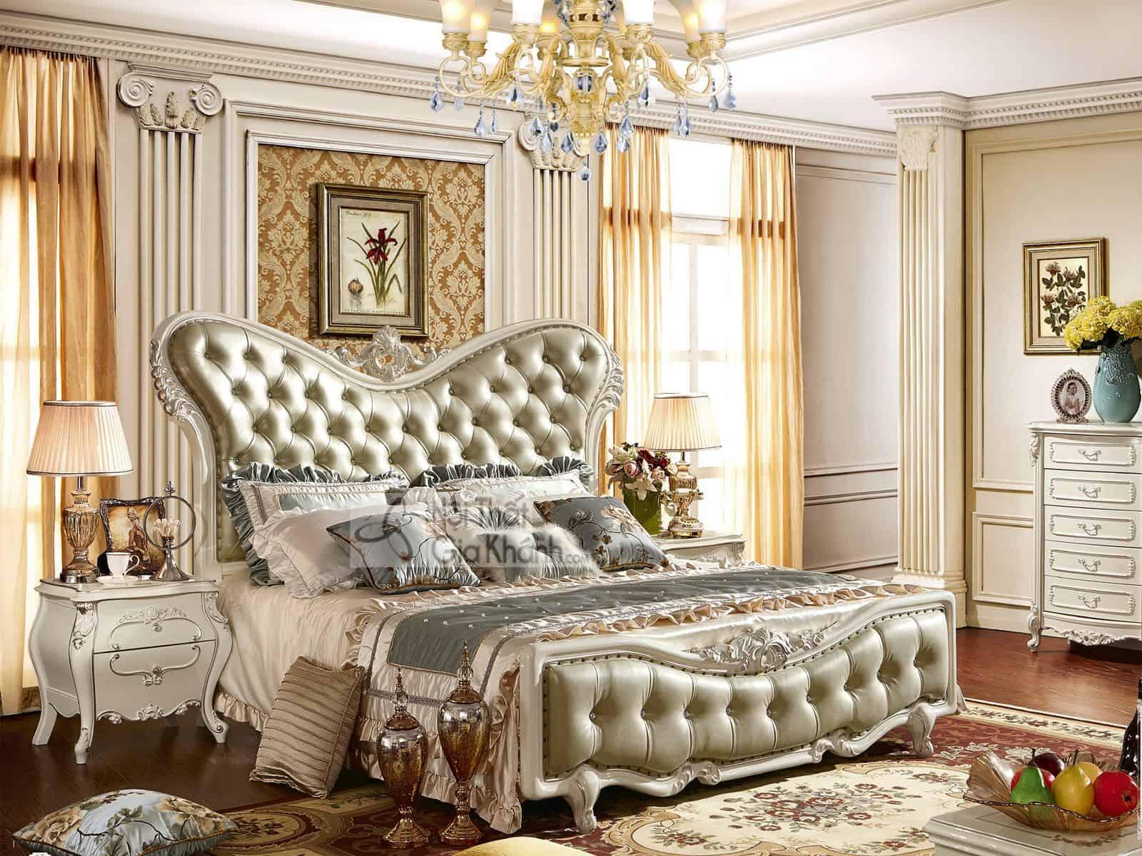 Giường ngủ (1m8x2m) màu trắng French White H8831AL
