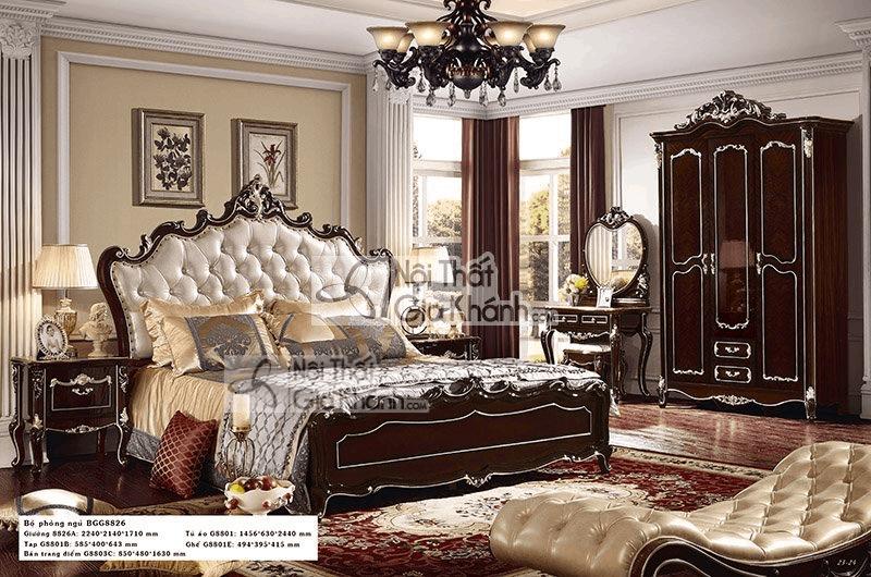 Giường Ngủ Đôi Tân Cổ Điển Cao Cấp Gỗ Sồi Tự Nhiên H8818Al - giuong ngu go tu nhien 9