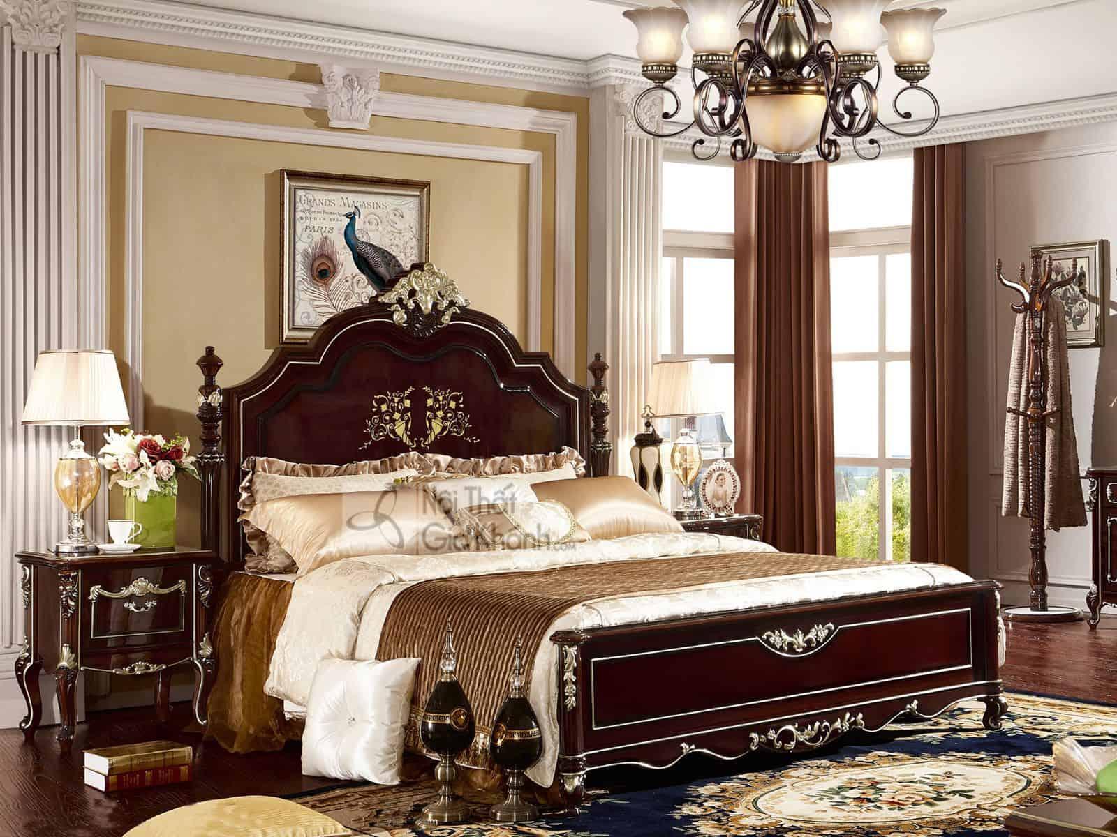 Giường ngủ màu nâu tân cổ điển G8833AL