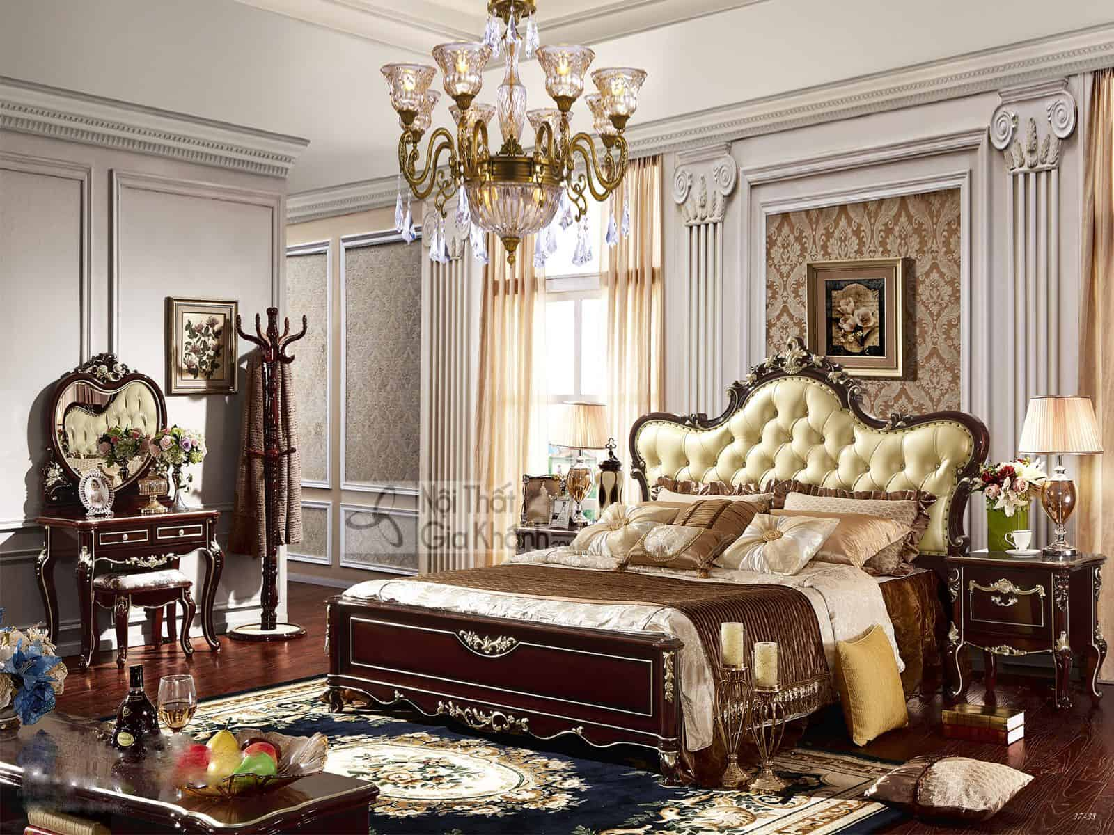 Giường Ngủ Gỗ Màu Nâu Tân Cổ Điển GI8835G