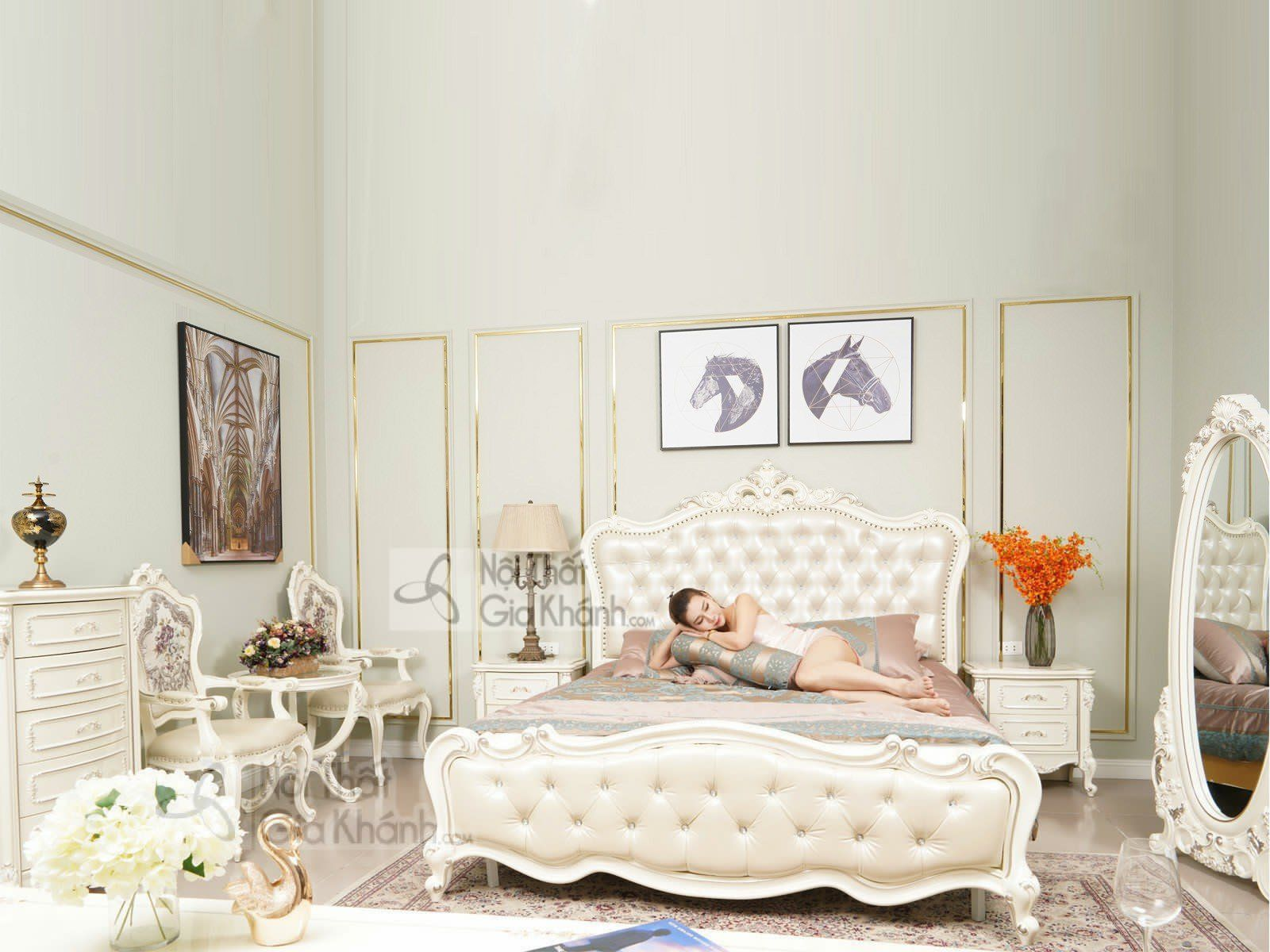 Giường ngủ gỗ chân cao tân cổ điển sang trọng H8838AL