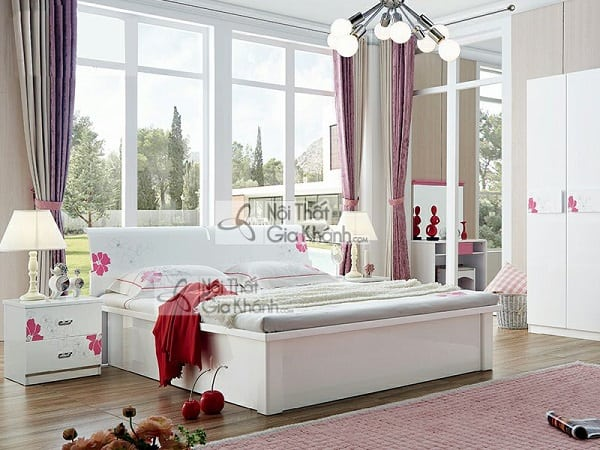 giường hộp cao cấp màu trắng