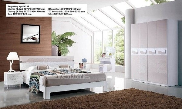 bộ phòng ngủ giường tủ trắng hiện đại