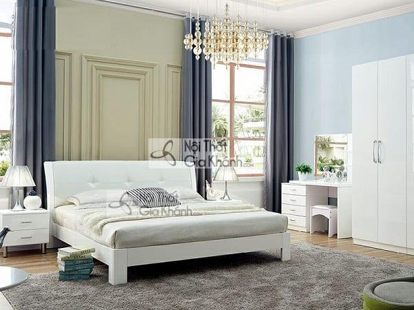 giường gỗ công nghiệp màu trắng 1m5