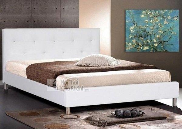 Giường gỗ đơn giản màu trắng