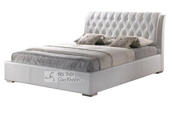 giường ngủ êm ái màu trắng xám