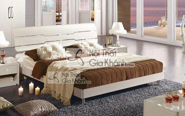 Giường ngủ gỗ tự nhiên hiện đại màu trắng