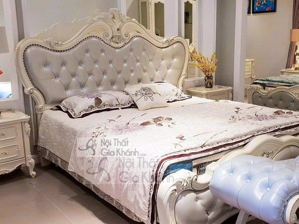 Mẫu giường ngủ đẹp màu trắng nhập khẩu