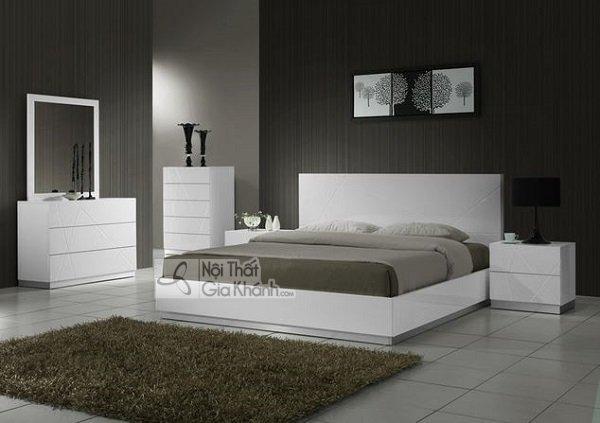 bộ giường tủ trắng gỗ công nghiệp