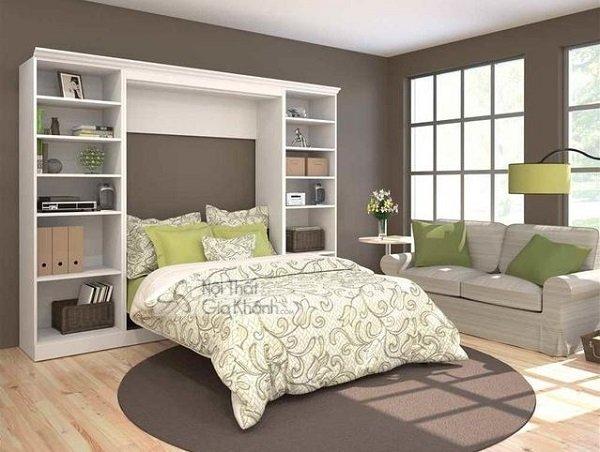 bộ giường trắng gỗ công nghiệp liền tủ độc đáo