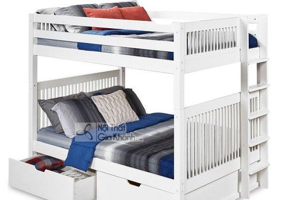 giường ngủ màu trắng 2 tầng