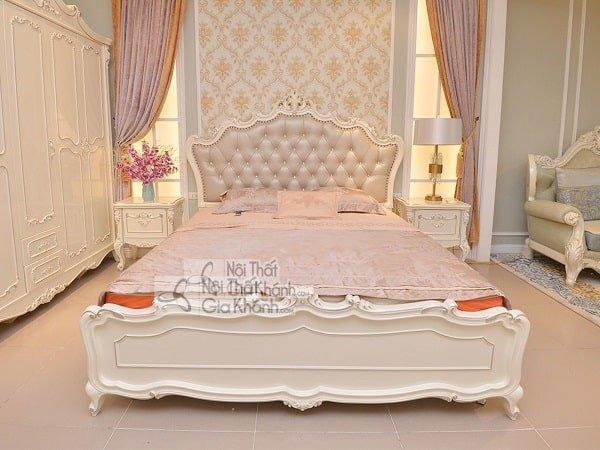 giường trắng gỗ sồi hoàng gia