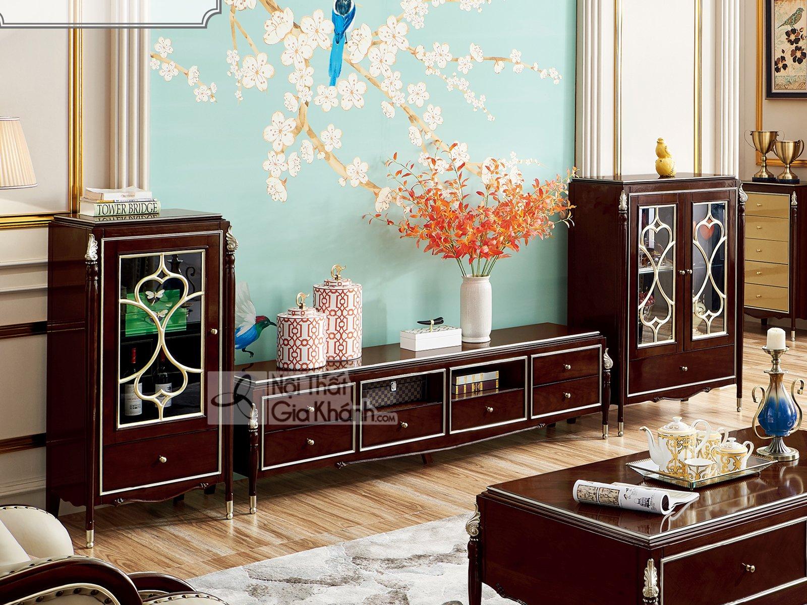 Bộ kệ tivi – tủ rượu gỗ phong cách tân cổ điển BK301