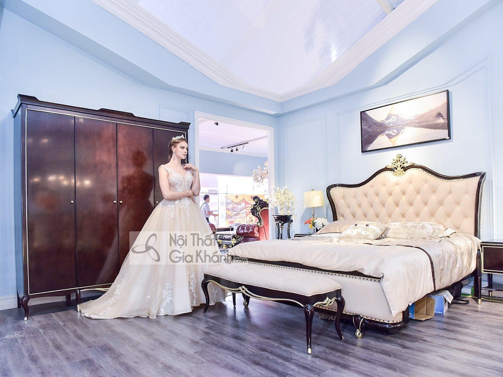 Giường ngủ tân cổ điển nhập khẩu sang trọng GI302-18