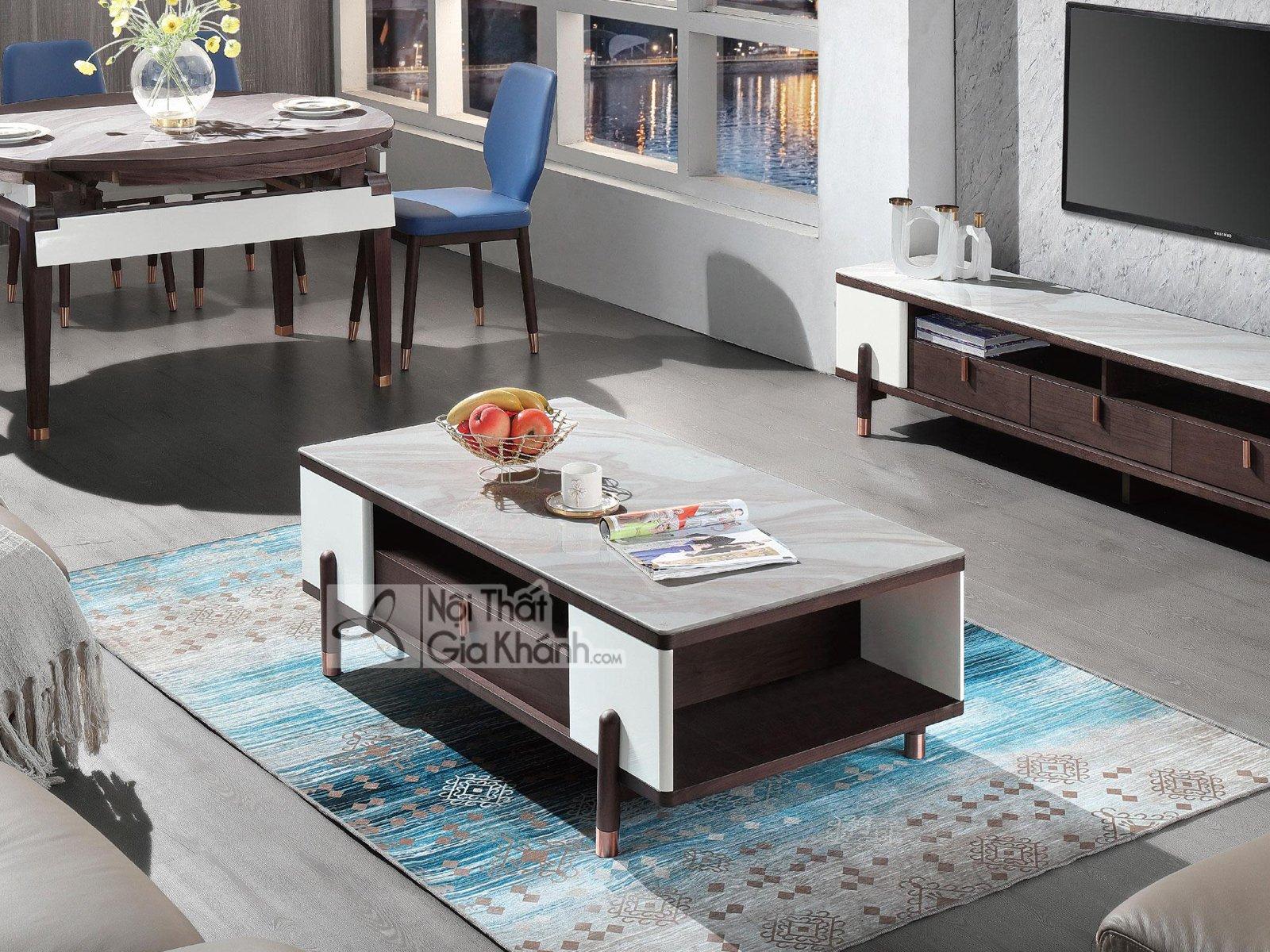 Bàn trà sofa mặt đá hiện đại BT1907+72D-128