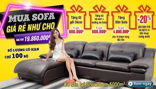 Siêu thị nội thất nhập khẩu top 1 Hà Nội - banner km sofa da t2 2020 mb