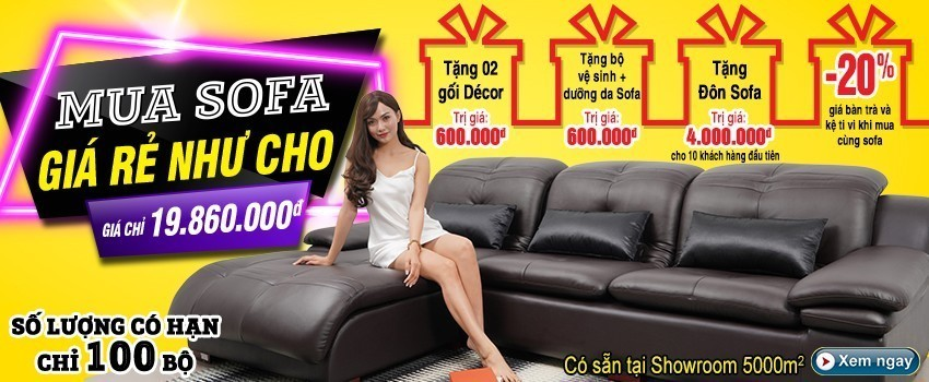 Siêu thị nội thất nhập khẩu top 1 Hà Nội - banner km sofa da t2 2020 pc