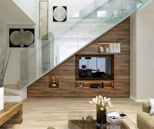 """10 thiết kế kệ tivi dưới gầm cầu thang """"hô biến"""" căn nhà thông minh hơn"""