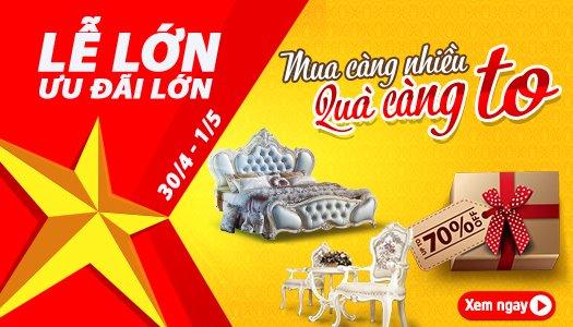 Siêu thị nội thất nhập khẩu top 1 Hà Nội - mung dai le uu dai lon