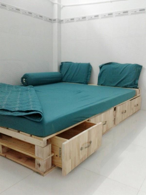 Pallet gỗ giường nhiều tiện ích