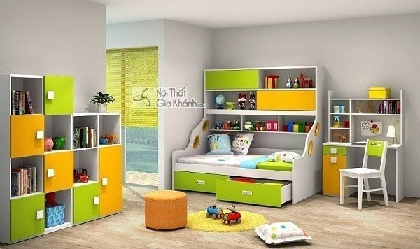 Giường 2 tầng thông minh có giá sách