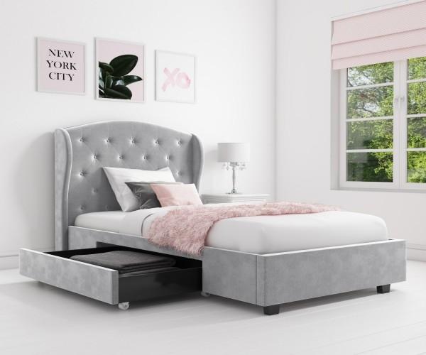 giường hộp cao cấp màu xám