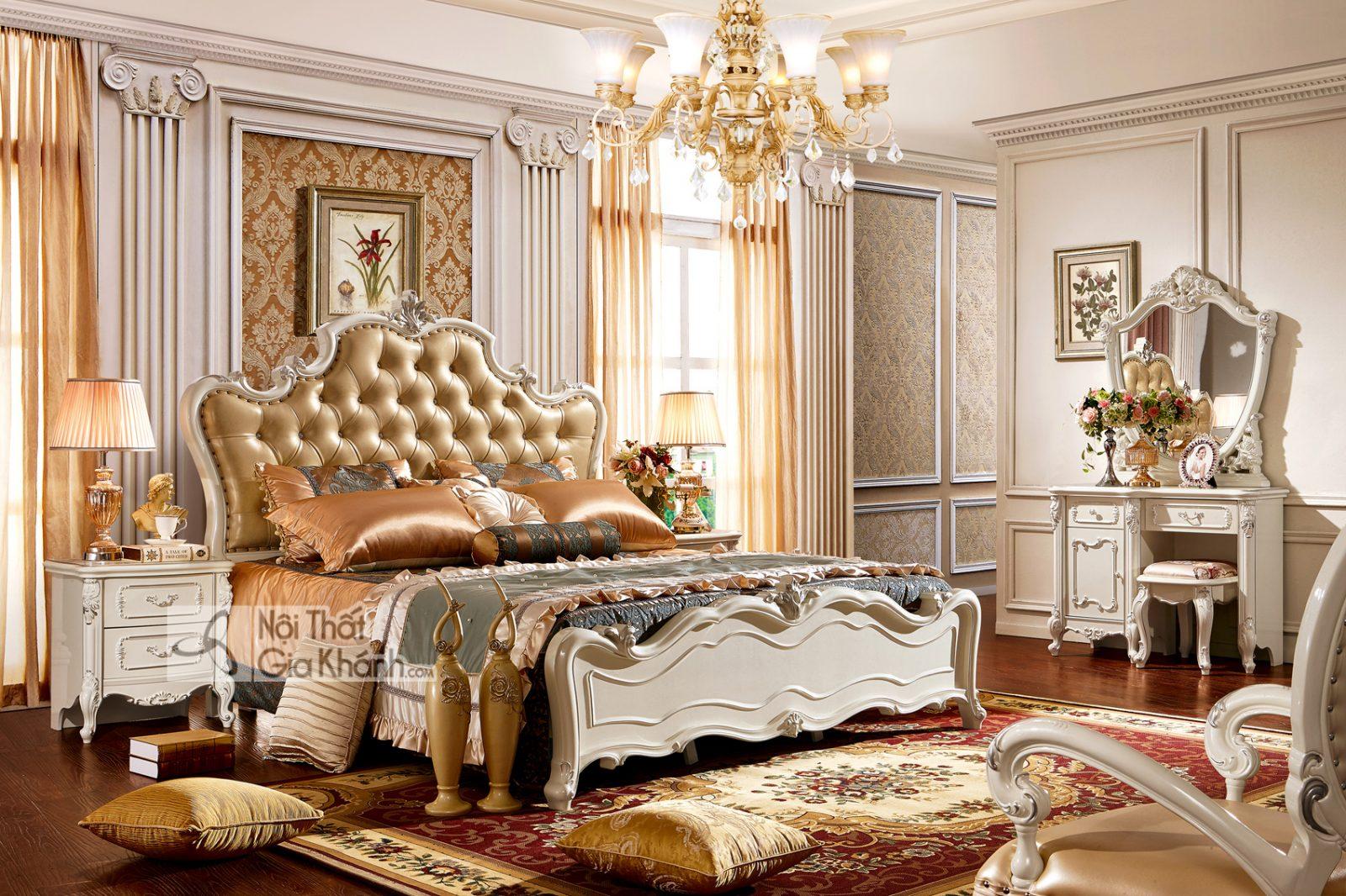 Giường ngủ Tân cổ điển màu trắng ngọc trai GI8830H phong cách Quí Tộc