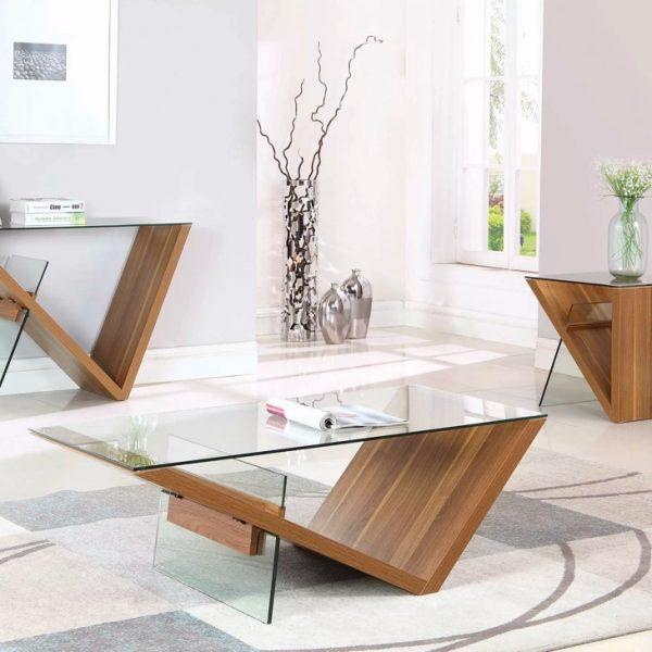 Những mẫu bàn trà mặt kính chân gỗ cuốn hút