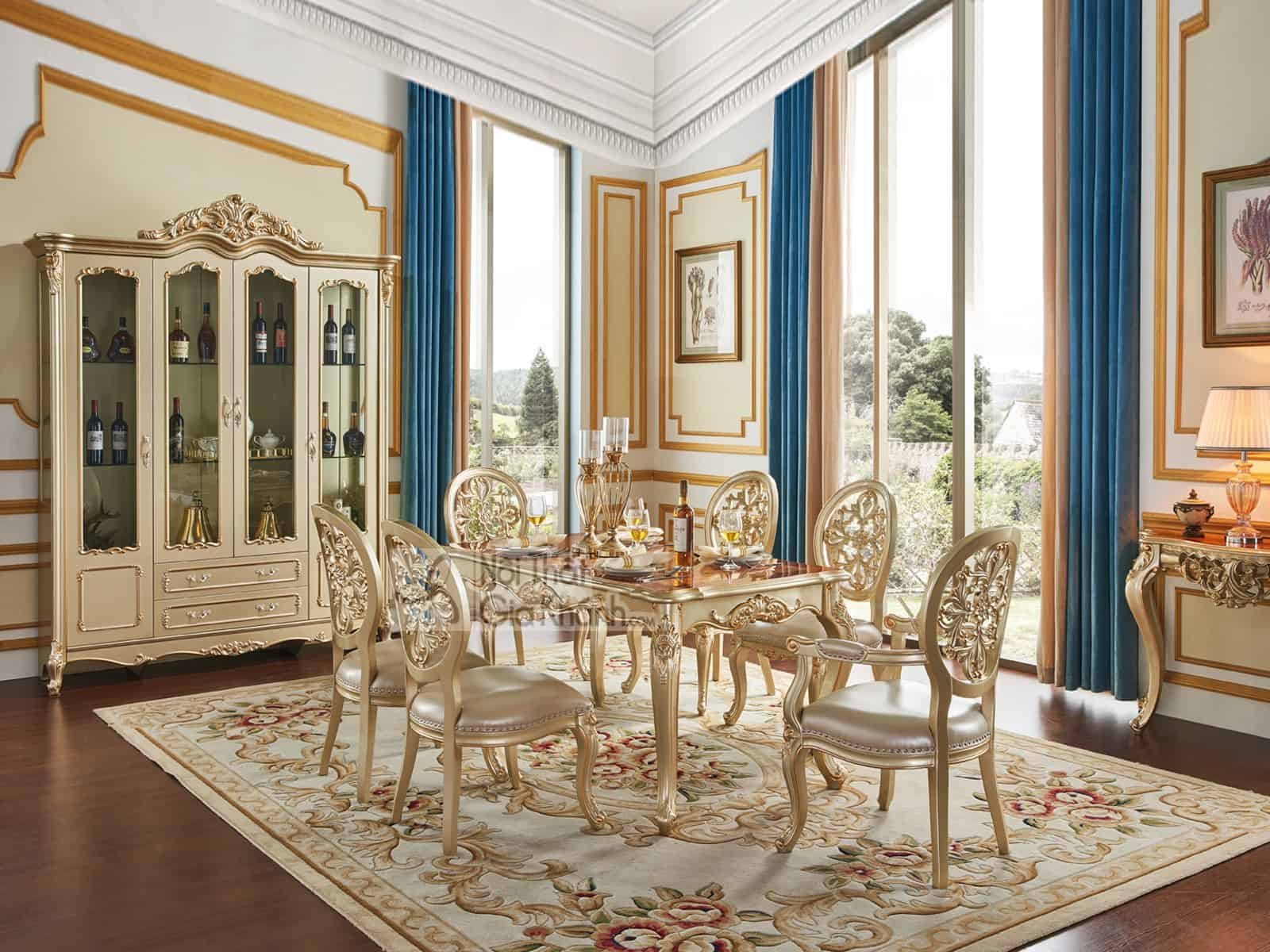 Bàn ăn 1m4 mặt gỗ Tân cổ điển màu vàng rượu Sampanh BA8801AG-14 đậm chất hoàng gia