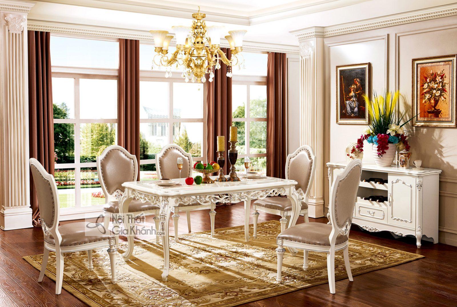 Bàn ăn mặt gỗ Tân cổ điển màu trắng ngọc trai BA8811HG-16 phong cách sang trọng