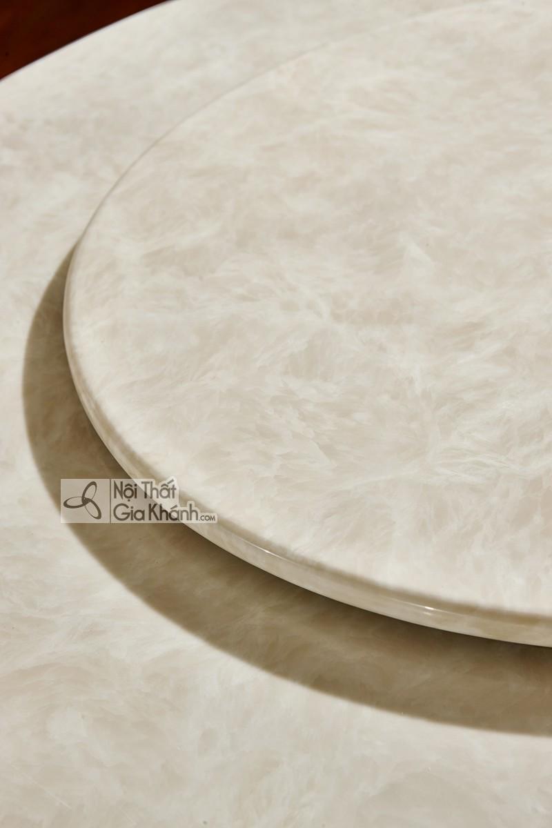 Bàn ăn tròn 1m3 mặt đá trắng nhân tạo Tân cổ điển màu trắng ngọc trai BA8802HD-13