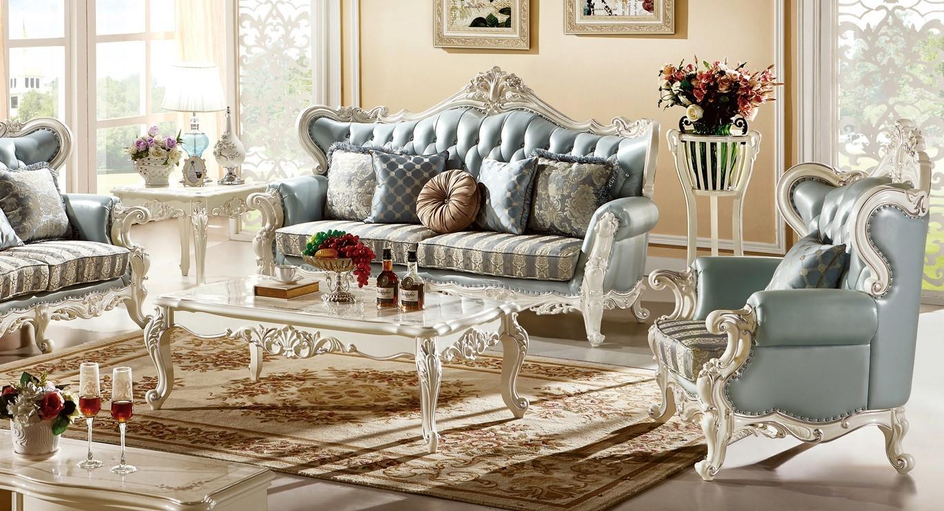 Bàn trà chân thoáng mặt gỗ Tân cổ điển màu trắng ngọc trai BTCT8801G-14 phong cách sang trọng