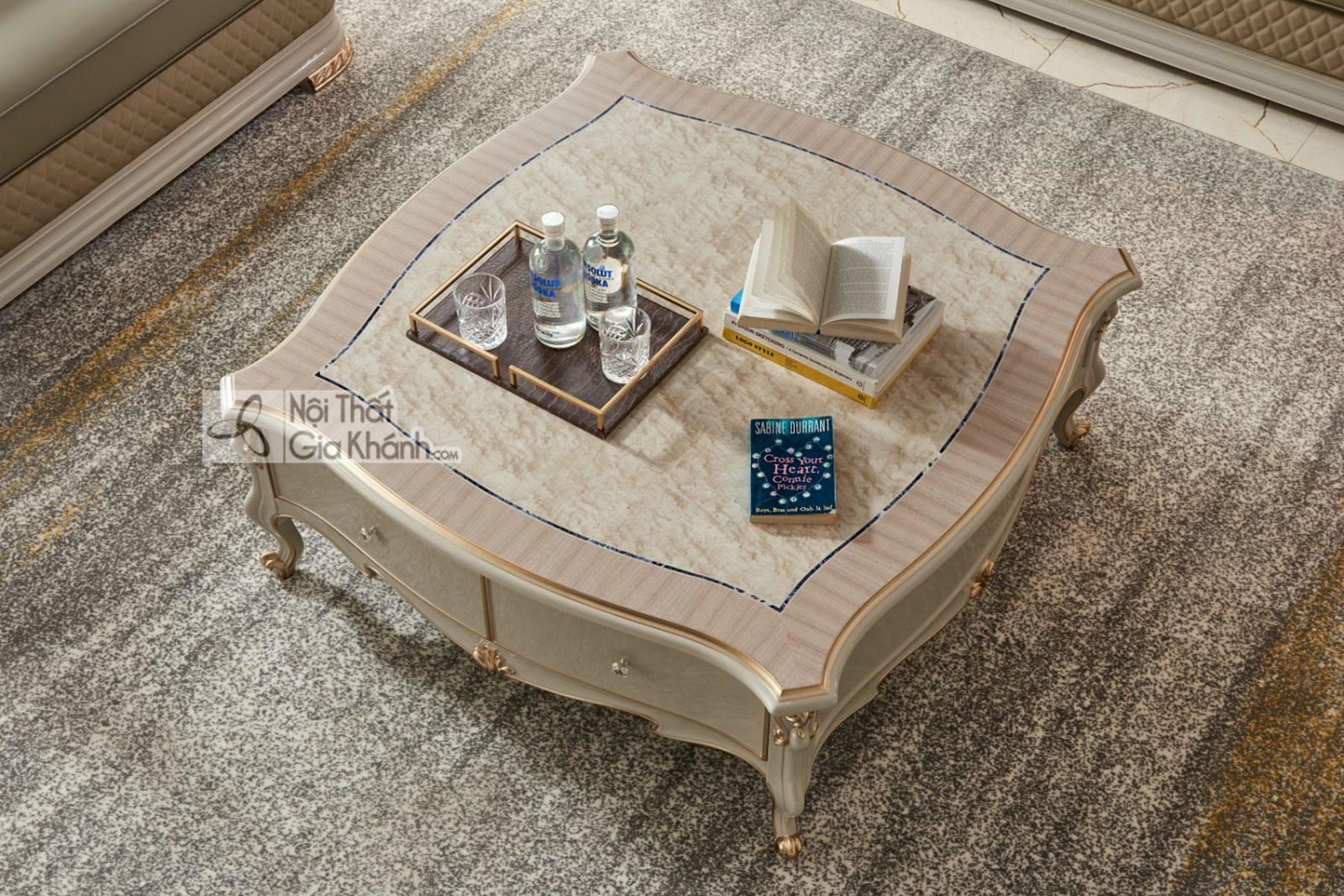 Bàn trà vuông 1m2 Tân cổ điển Luxury BT9802H-12
