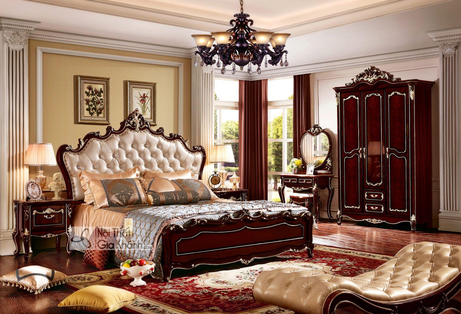 Giường ngủ Tân cổ điển màu rượu vang nho GI8826G phong cách Quý tộc