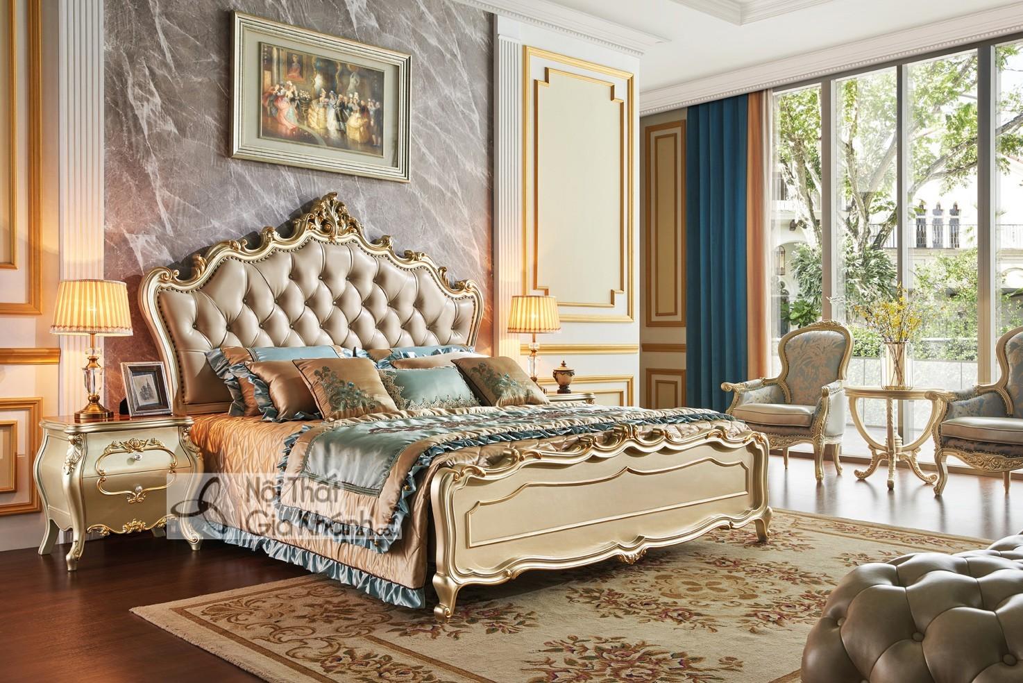 Giường ngủ Tân cổ điển màu vàng rượu Sampanh GI8826A đậm chất Hoàng Gia