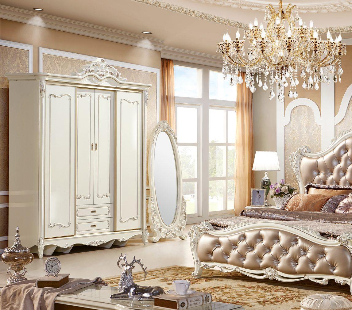 Tủ áo 2 cánh lùa + 2 cánh mở Tân cổ điển màu trắng ngọc trai TU8805H phong cách Hoàng Gia