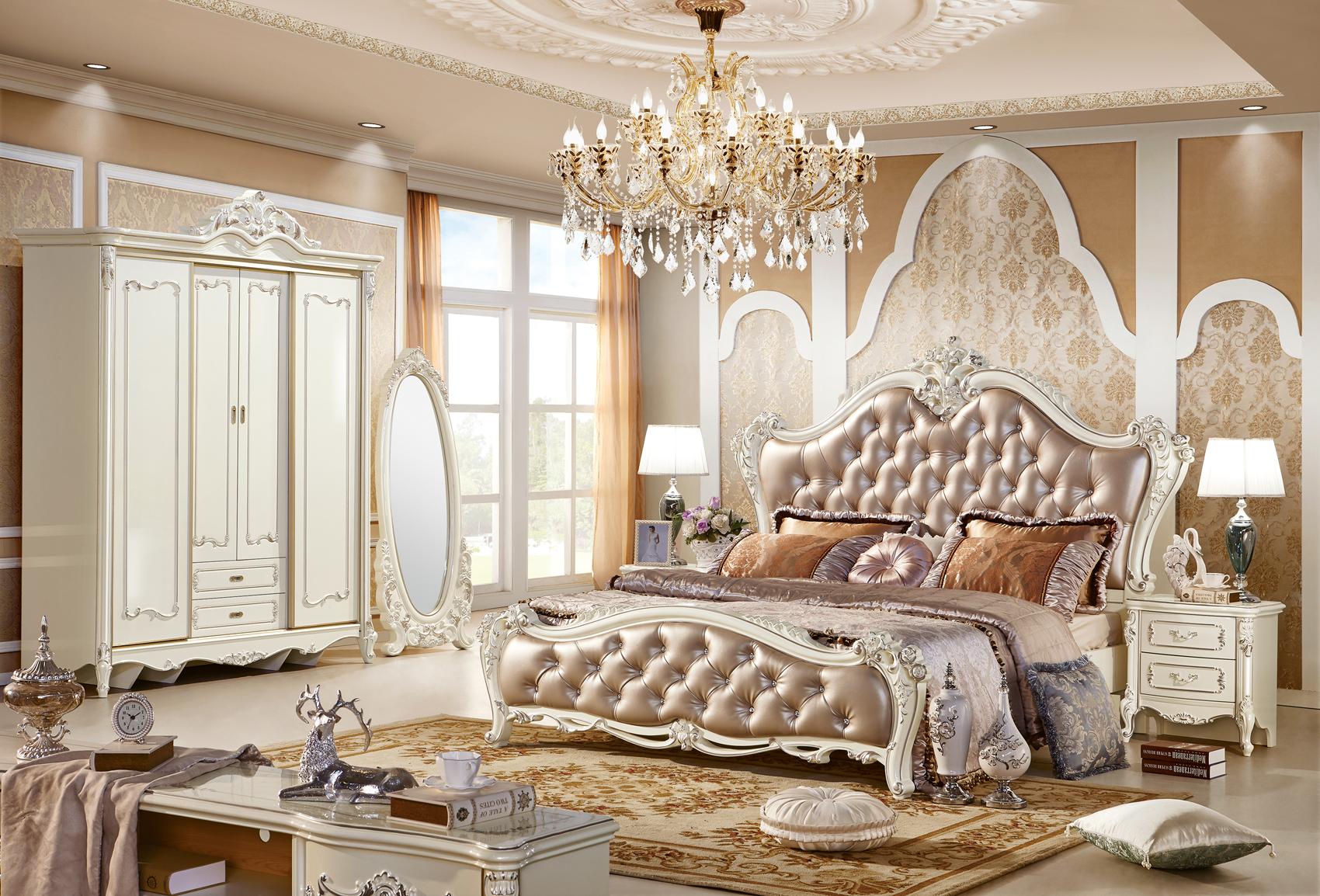 Tủ áo 4 cánh thẳng Tân cổ điển màu trắng ngọc trai TU8806H phong cách Hoàng Gia