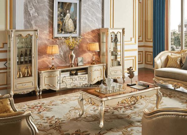 nội thất vàng đồng bàn trà